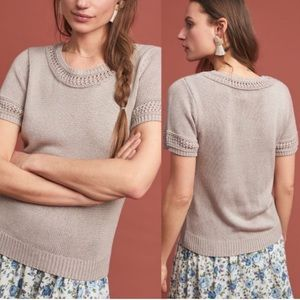 Anthropologie Latticed Short Sleeve Sweater Tee